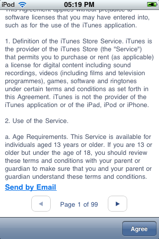Hideous iTunes Shop terms and conditions (page one of ninety-nine)